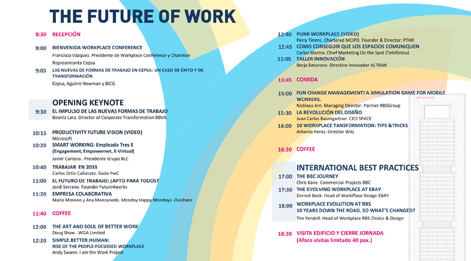 Agenda  Workplace Conference (Madrid 2.015)